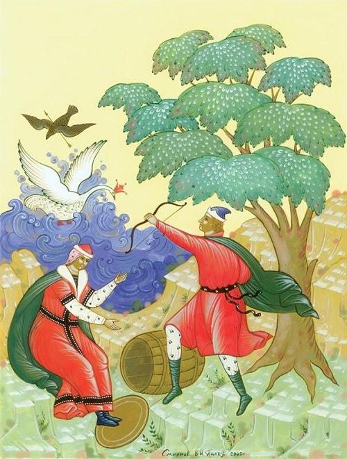 художник Смирнов, Палех, читайте сказку о царе Салтане, автор Пушкин Александр Сергеевич, сказка полностью, крупный шрифт, много красивых картинок, рисунков, иллюстраций русских художников