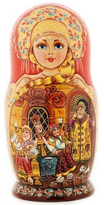Русская матрёшка сказка о царе Салтане, детям легко читать сказку о царе Салтане, когда в ней много картинок и крупный шрифт текста