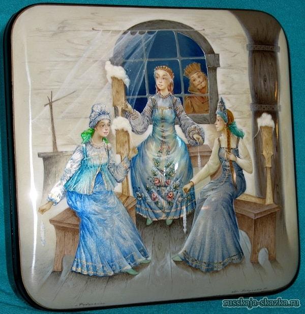 Три девицы под окном, очень популярная русская сказка Александра Сергеевича Пушкина о царе Салтане с большим количеством красивых красочных картинок для ребят