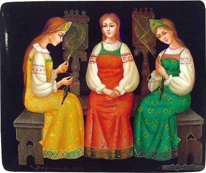 Три девицы, лаковая миниатюра Федоскино, сказка о царе Салтане, читайте сказку о царе Салтане, автор Пушкин Александр Сергеевич, сказка полностью, крупный шрифт, много красивых картинок, рисунков, иллюстраций русских художников