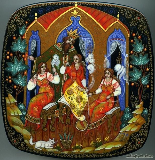 царь Салтан разговаривает с девицами, сказки русских писателей , большой выбор разных сказок для чтения и просмотра, также можно прослушать аудиосказки, аудиокниги