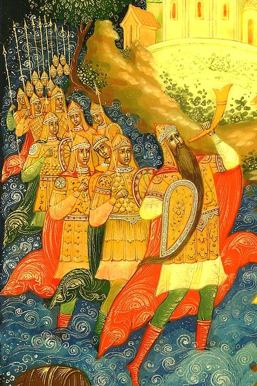 33 богатыря, лаковая миниатюра, золотая коллекция сказок Пушкина А.С. с картинками для детей