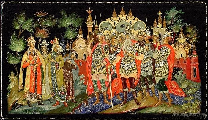 И стоят в глазах царя Тридцать три богатыря, сказки русских писателей , большой выбор разных сказок для чтения и просмотра, также можно прослушать аудиосказки, аудиокниги
