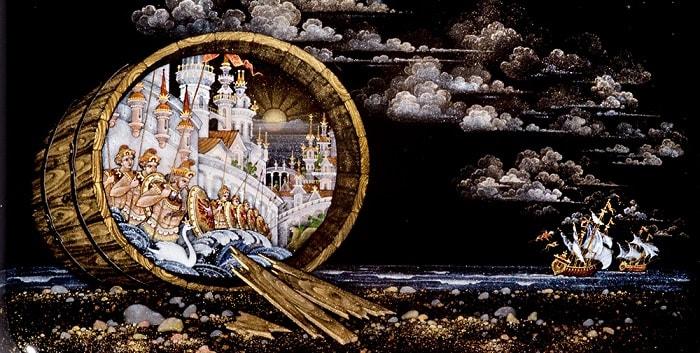 Судно весело бежит, Сказка о царе Салтане, читать онлайн с картинками, лаковая миниатюра Палех, Федоскино, Мстера, Холуй, иллюстрации художников