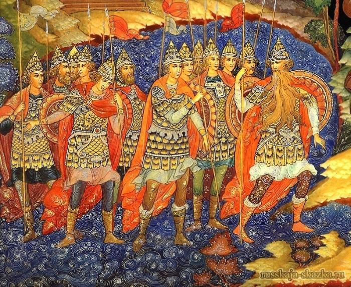 Тридцать три богатыря, приучение детей к чтению русских сказок, крупный шрифт, много иллюстраций русских художников