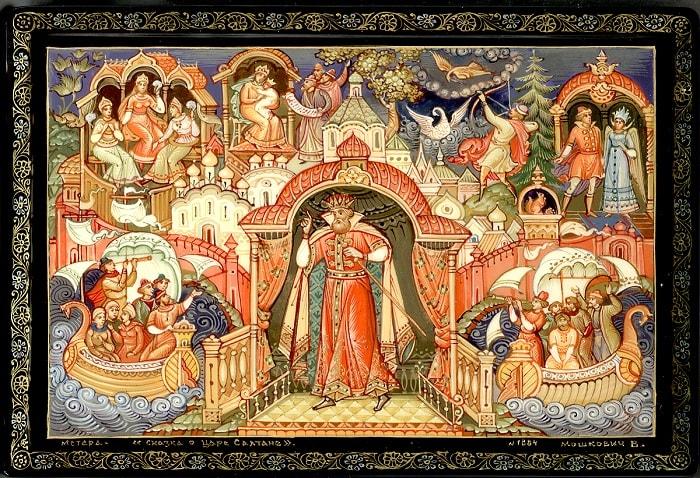 Тут уж царь не утерпел, Снарядить он флот велел, золотая коллекция сказок Пушкина А.С. с картинками для детей