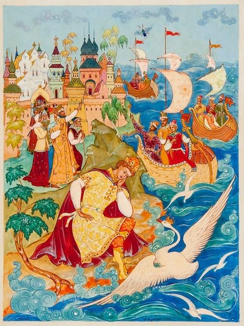 в муху князь оборотился, Волшебная добрая сказка для детей детского сада и школьного возраста о том как заточили царевну с ребёнком в бочку и кинули в море океан
