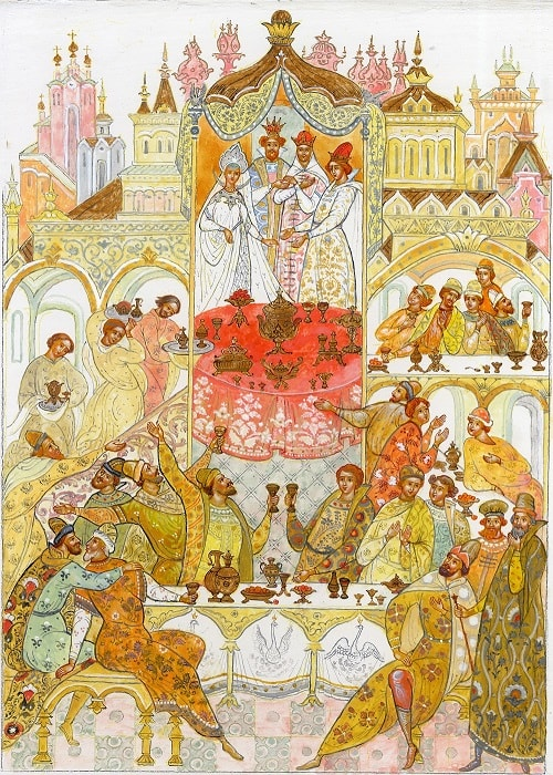 И садятся все за стол; И веселый пир пошел, любимая наша сказка о царе Салтане, весь текст полностью читать бесплатно и без регистрации онлайн прямо сейчас с картинками и крупным шрифтом