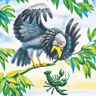 Ворона и рак, русская народная сказка читать с крупным шрифтом для детей