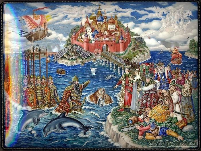 Все красавцы молодые, Великаны удалые, очень популярная русская сказка Александра Сергеевича Пушкина о царе Салтане с большим количеством красивых красочных картинок для ребят