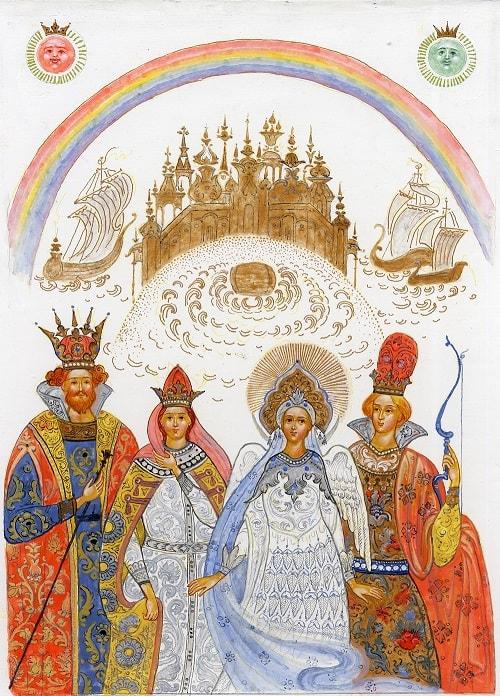 царь Салтан, читать сказку Пушкина о царе Салтане онлайн бесплатно с красивыми красочными картинками