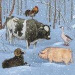 Зимовье зверей русская народная сказка читать для детей с крупным шрифтом картинка онлайн