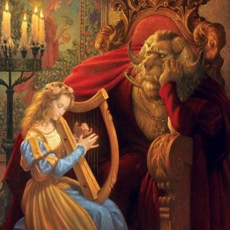 Красавица и чудовище, сказка Шарль Перро читать картинка онлайн для детей крупный шрифт книга