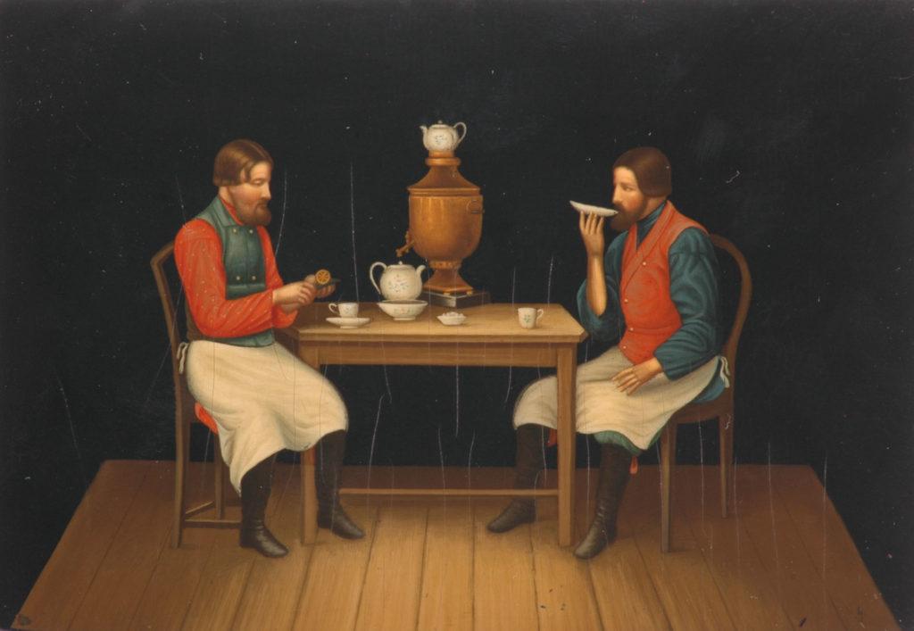 Чаепитие в лаковой миниатюре