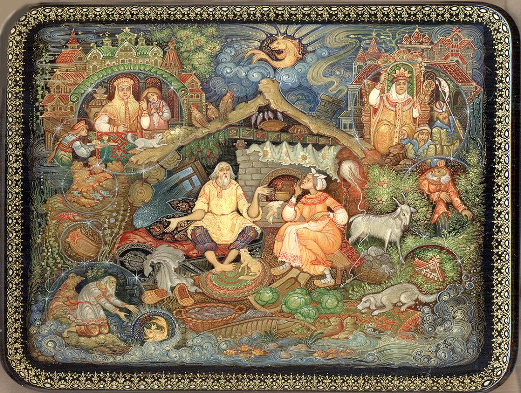 Холуй лаковая миниатюра сюжет из сказки о золотой рыбке Пушкин
