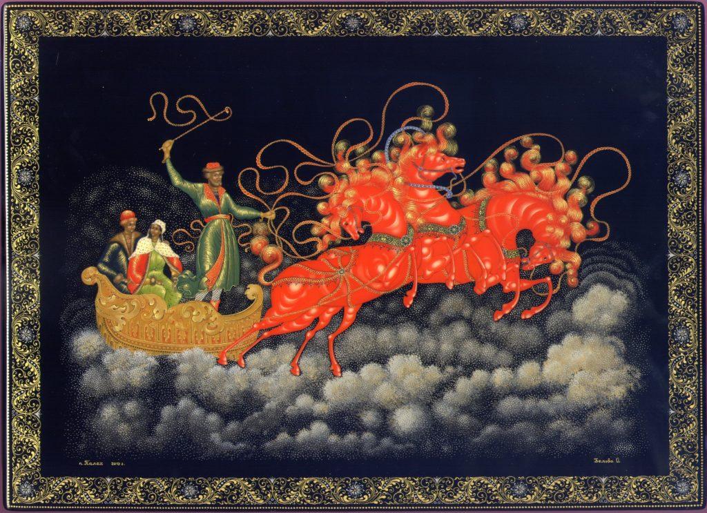 Лаковая миниатюра Тройка красных лошадей Палех