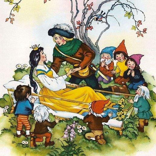Белоснежка и семь гномов популярная сказка братьев Гримм читай для детей
