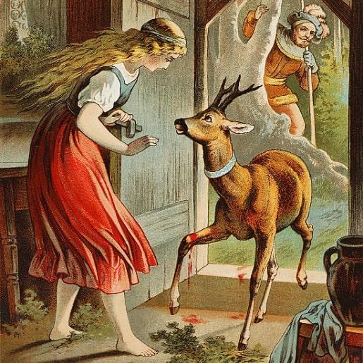 Братец и сестрица сказка братьев Гримм крупным шрифтом книжка с иллюстрацией онлайн детская литература