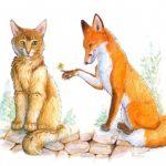 Лис и кошка читайте сказку братьев Гримм с рисунком
