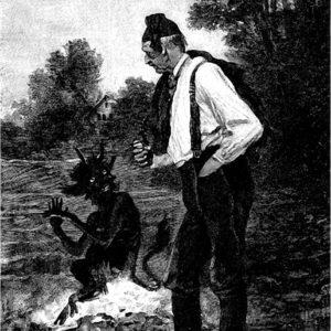 Мужичок и черт сказка братьев Гримм книжка с картинкой