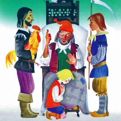Три счастливца сказки братьев Гримм читаем онлайн с рисунком