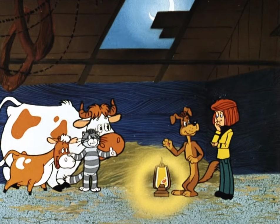 Корова и телёнок в Простоквашино мультипликация СССР